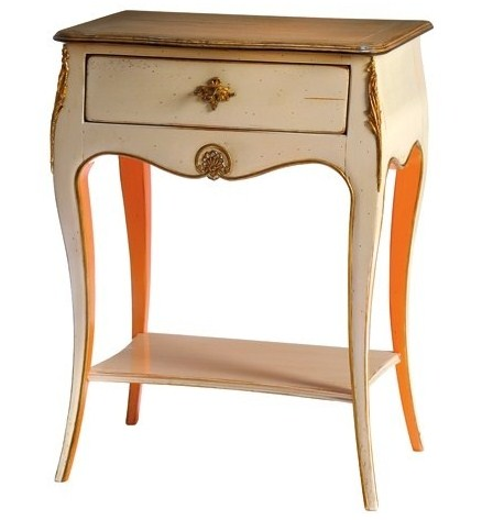 French Side Table Painted In White With A Touch Of Orange Add Dimension To Your French Furniture