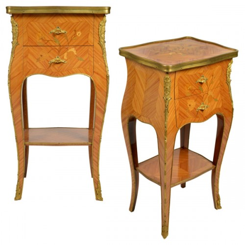 French antique Louis XV style pair of side tables with beautiful rosewood marquetry and floral inlays of rosewood and lemonwood 500x500 Parisian Affair   Interview With Claudia Strasser