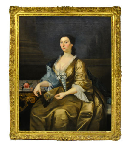 Antique 18th C. Oil on Canvas Portrait of a Lady From Antiquarian Traders Ebay Decorating With Dark Brown  French Styling