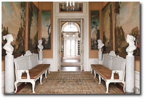 Circa 1800 French riverscapes share the garden hall with antique marble busts depicting the four seasons the painted benches were designed in the manner of 18th century British architect William Kent. 500x341 Decorating With Dark Brown  French Styling