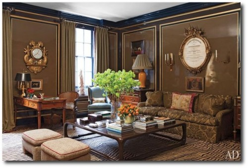 Fernanda Kellogg and Kirk Henckelss New York City Apartment 500x339 Decorating With Dark Brown  French Styling