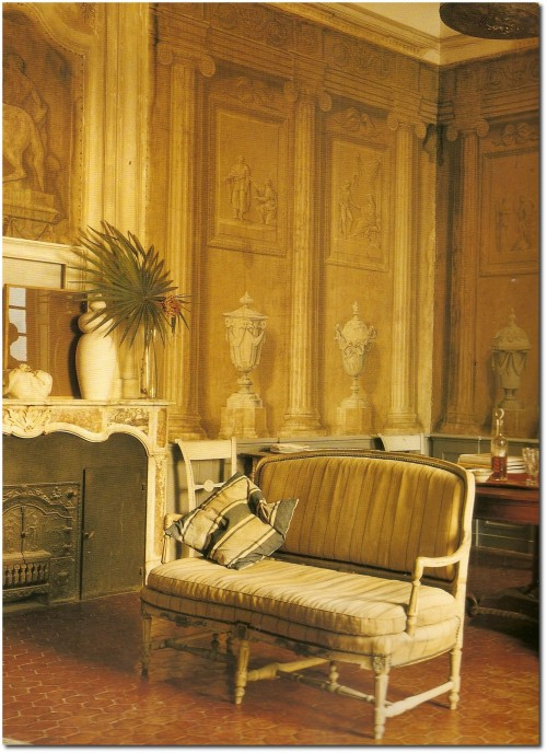 Francois Halards Home Walls painted by the Neoclassical artist Jacques Reattu in the 19th century 2 500x688 Decorating With Dark Brown  French Styling