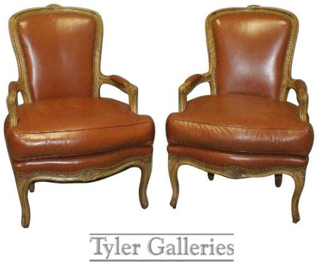Pair of French Louis XV Leather Upholstered Fauteuils Decorating With Dark Brown  French Styling