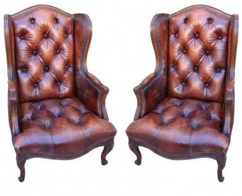 Pair of French walnut carved leather tufted armchairs with nailhead trim detail and cabriole legs. 500x406 Decorating With Dark Brown  French Styling