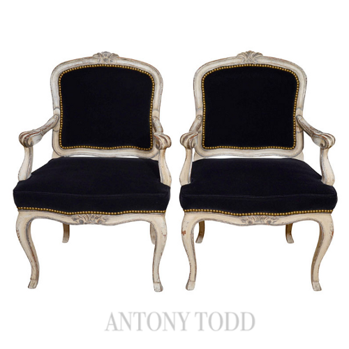 Pair of Louis XV Style Carved and Painted Fauteuils Geige or Beige?  Decorating Around The Darker Shades
