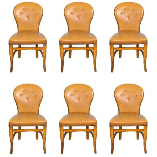 Set of Six French Leather Dining Chairs 500x500 Decorating With Dark Brown  French Styling