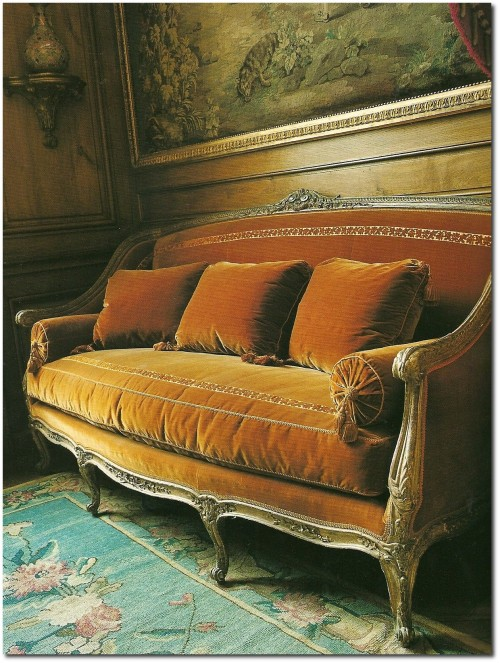 Velvet Upholstered French Sofa 500x663 Decorating With Dark Brown  French Styling
