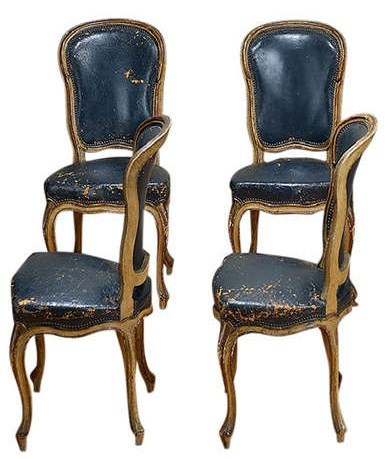 Vintage French Set of Eight Navy Leather Dining Chairs1 Decorating With Dark Brown  French Styling