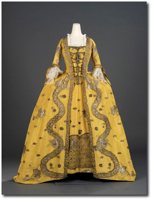 1750's Canary Yellow Dress 2 500x659 Mantua Court Gowns