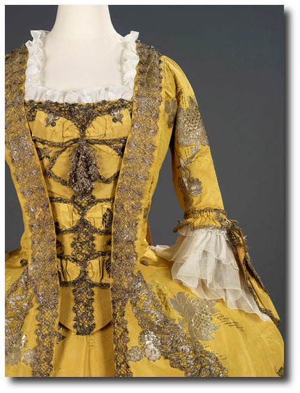 1750's Canary Yellow Dress Mantua Court Gowns
